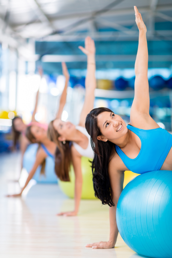 Group of people in a Pilates class